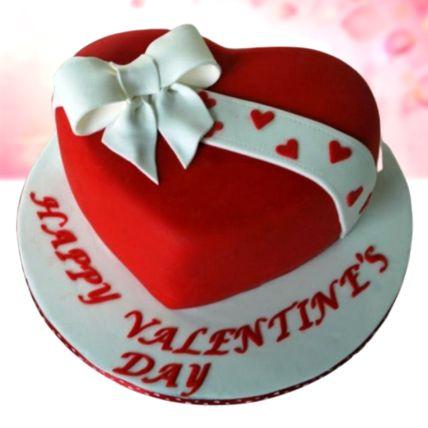 Valentines Bow Red Velvet Fondant Cake 1.5 Kg