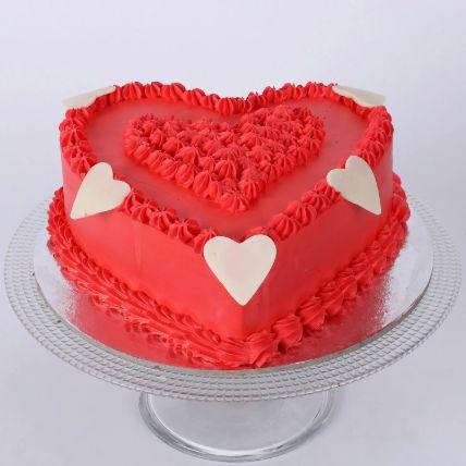 Floral Red Heart Cake 1 Kg