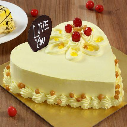 Heart Shaped Butterscotch Cake 1 Kg