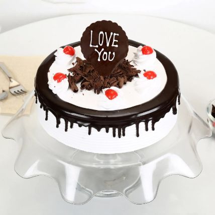 Love You Valentine Black Forest Cake Half Kg