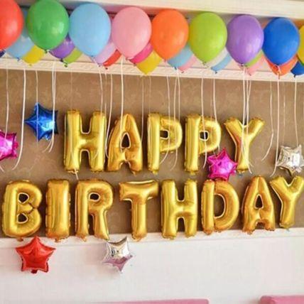 Happy Birthday Colourful Balloon Decor