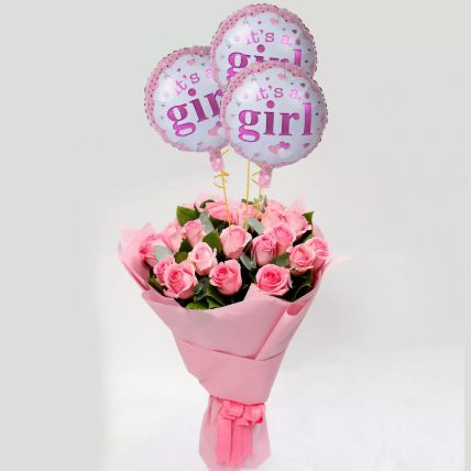 Pink Roses Bouquet with Balloons