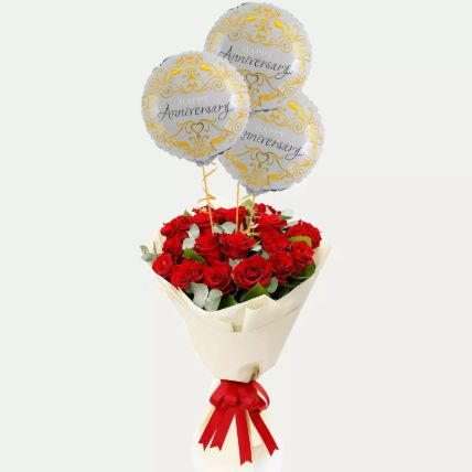 Red Roses Bouquet with Anniversary Balloons