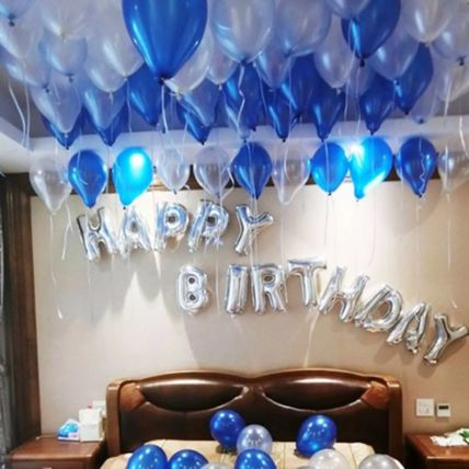 Happy Birthday Blue and Silver Balloon Decor