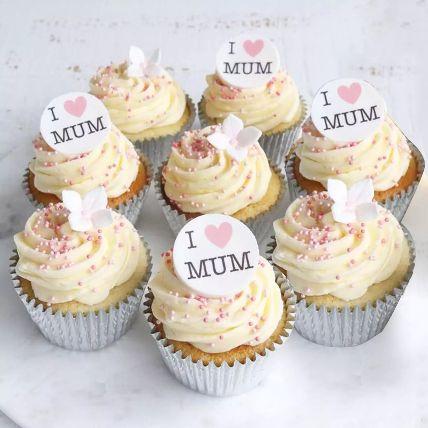 I Love MUM 6 Pieces Cupcakes