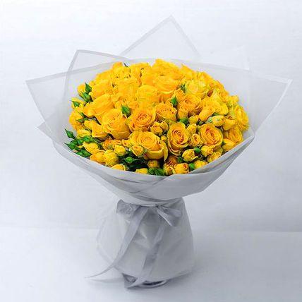 Beautiful Yellow Rose & Spray Rose Bouquet