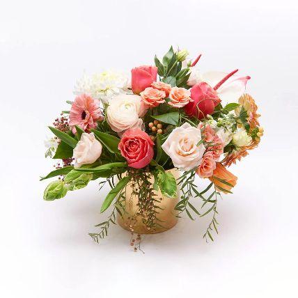 Mix Flower In Glass Vase