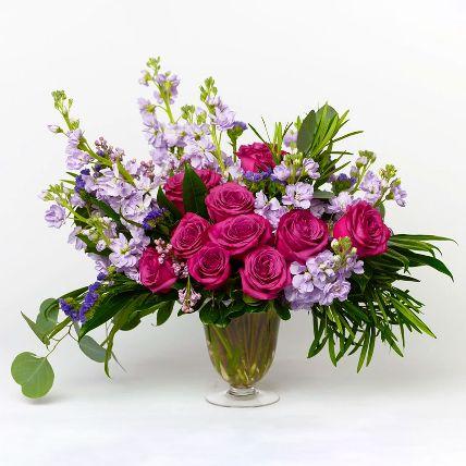 Premium Pink Rose & Delphinium Vase Arrangement