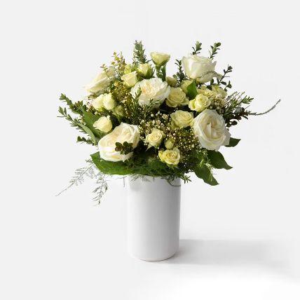 Serene White Rose & Spray Rose Vase Arrangement