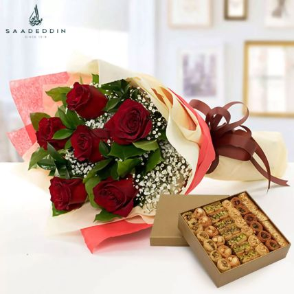 6 Red Roses With Baklawa Sweet 1 Kg
