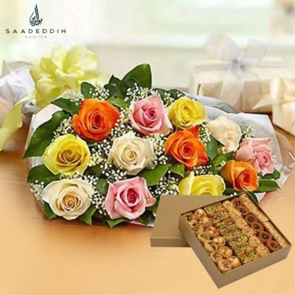 12 Mix Roses Bunch With Baklawa Half Kg