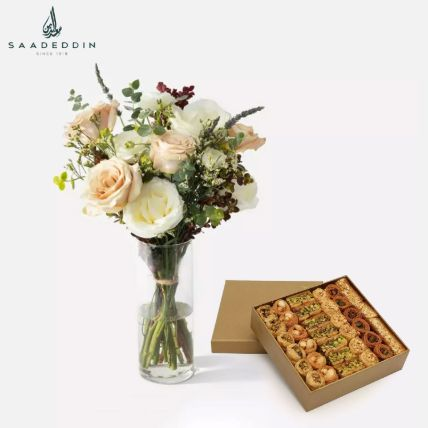 Flowers In Glass Vase With Baklawa Sweet 1 Kg