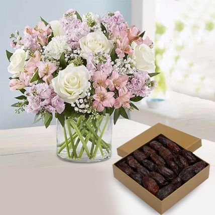 Luxury 1 Kg Dates & Mix Flowers Vase