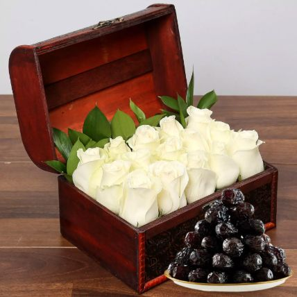 White Roses Box And 1 Kg Dates Surprise