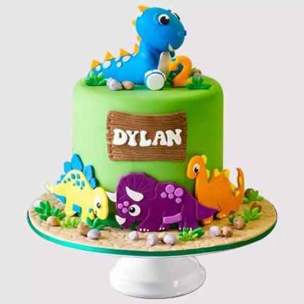 Colourful Dinosaur Vanilla Cake 1.5 Kg