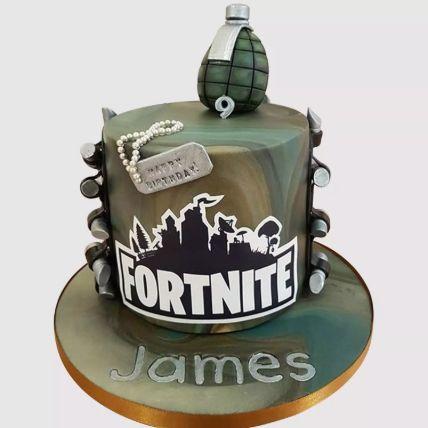 Fortnite Fondant Grenade Red Velvet Cake 1.5 Kg