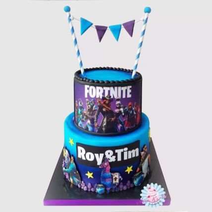2 Tier Fortnite Chocolate Cake 4 Kg