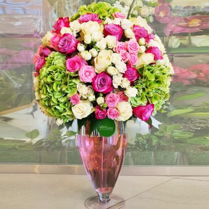 Heavenly Hydrangea & Mixed Roses Vase Arrangement