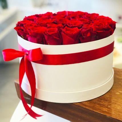 Romantic Red Roses White Box Arrangement