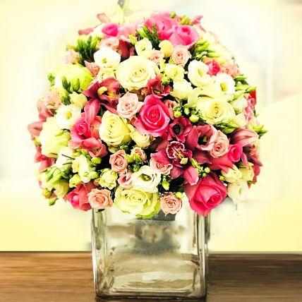 Delightful Mixed Flowers Vase Arrangement