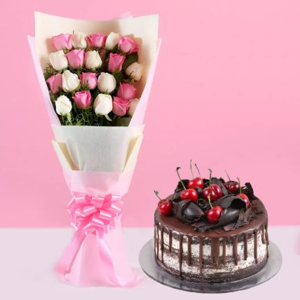 Pink White Roses & Black Forest Cake 4 Portions