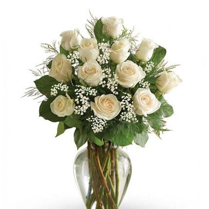 12 White Roses Arrangement