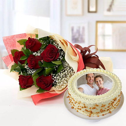 Half Kg Butterscotch Cake With Red Roses Bouquet