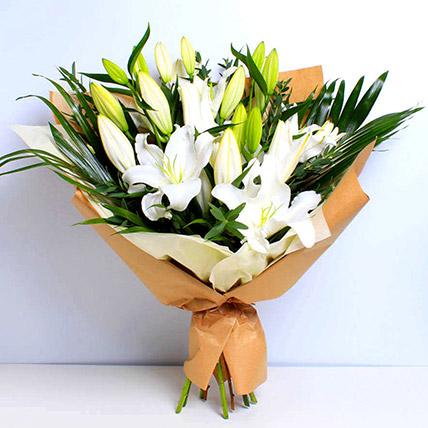 White Beauty Lilies Bouquet