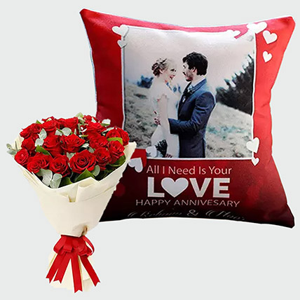 Adorable Roses And Personalised Cushion Combo