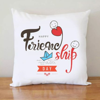 Friendship Day White Cushion
