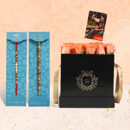 Elegant Box Of Orange Roses & Rakhi Set