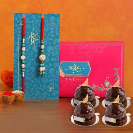 Golden Rocher 6 Pieces With Blue Pearl Rakhi Set