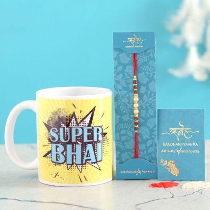 Pearl Rakhi And Super Bhai Mug Combo