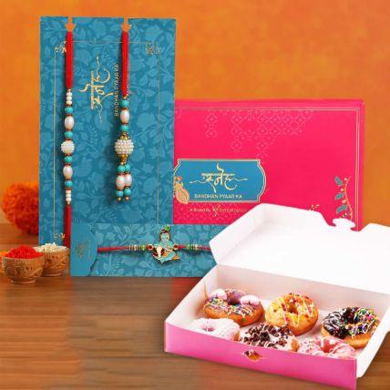 Rakhi Set with 6 Pieces Donuts
