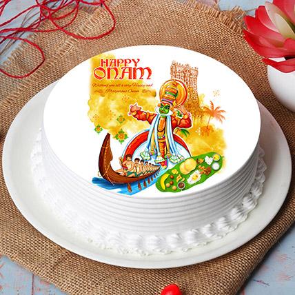 Happy Onam Festival Wishes Photo Cake