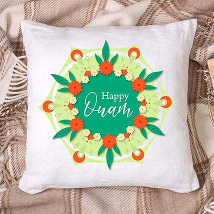 Happy Onam White Floral Printed Cushion