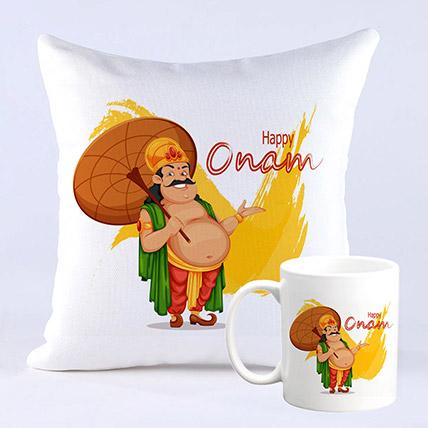 King Mahabali Happy Onam Printed Mug And Cushion