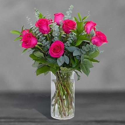 12 Lovely Pink Roses Glass Vase Arrangement
