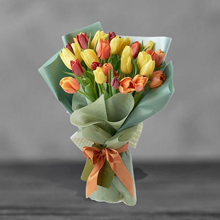 Beautifully Wrapped Mixed Tulips Bouquet