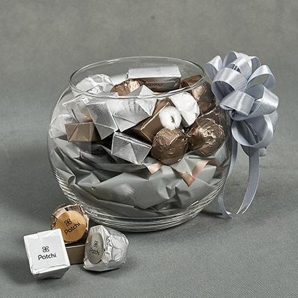 Glass Bowl Of Patchi Chocolates