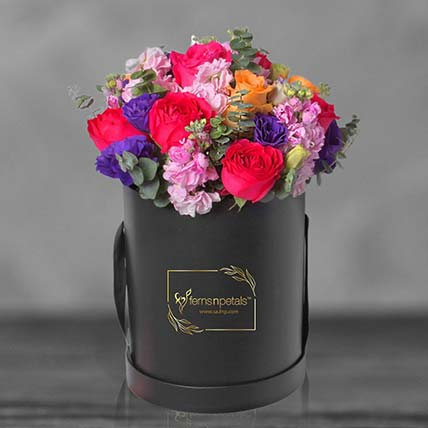 Mixed Roses In A Round Flower Box