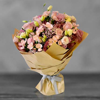 Pink Roses And Lisianthus Bouquet