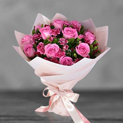 Pink Roses With Carnations Bouquet