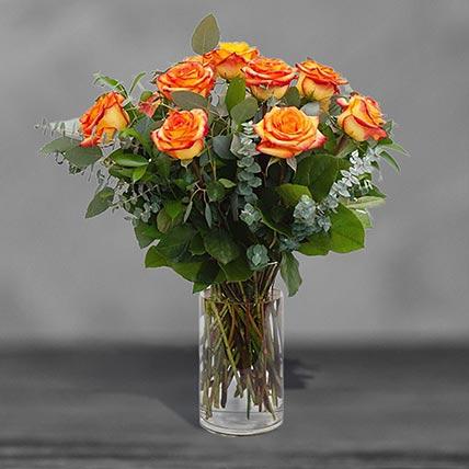 12 Beautiful Orange Roses Glass Vase Arrangement