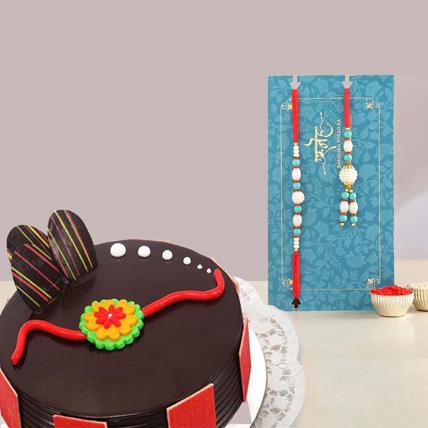 Set Of 2 Rakhi With Chococlate Cake