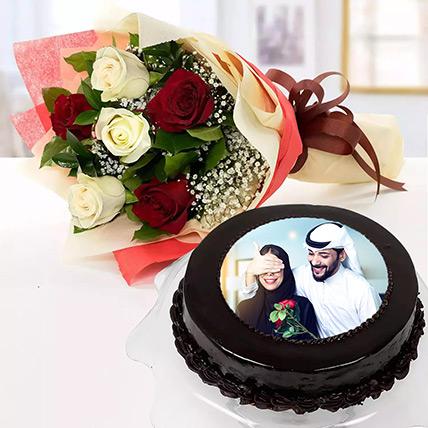 Chocolate Truffle Birthday Special Photo Cake With Flowers 1 Kg