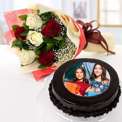 Chocolate Truffle Birthday Special Photo Cake With Flowers Half Kg