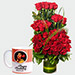 Red Roses Arrangement And Personalised Mug