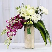 Orchids & Carnations Vase Arrangement