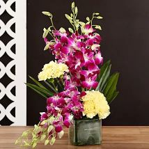 Yellow Carnations & Orchids In Vase
